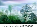 misty wet wilderness rainforest.... | Shutterstock .eps vector #417208588
