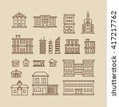 buildings line thin vector... | Shutterstock .eps vector #417217762