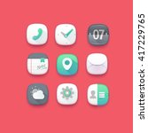 cute mobile interface icons. red