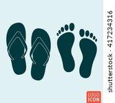 beach slippers icon. flip flop...