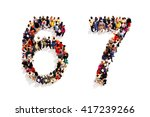 people forming the shape as a... | Shutterstock . vector #417239266