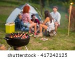 evening in campground  close up ... | Shutterstock . vector #417242125
