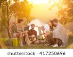 smiling group of young campers  ... | Shutterstock . vector #417250696