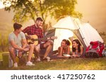 romantic time on camping two... | Shutterstock . vector #417250762