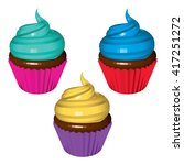 set of colored cupcakes... | Shutterstock .eps vector #417251272