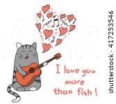 cute cartoon cat in love.... | Shutterstock .eps vector #417253546