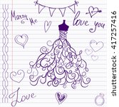 wedding drawings. sketch... | Shutterstock .eps vector #417257416