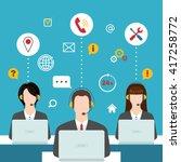men and women working in a call ... | Shutterstock .eps vector #417258772