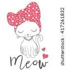 girl cat vector design.cartoon...   Shutterstock .eps vector #417261832