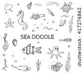 doodle sea  ocean life elements.... | Shutterstock .eps vector #417276862