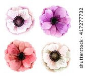 set of watercolor anemones.... | Shutterstock . vector #417277732