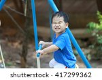 young boy and his mother are... | Shutterstock . vector #417299362