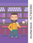 man holding glass of juice. | Shutterstock .eps vector #417303382