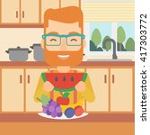 man eating watermelon. | Shutterstock .eps vector #417303772