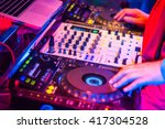 djs are turntablism turntables... | Shutterstock . vector #417304528