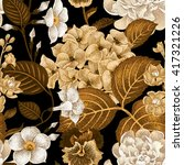 garden hydrangea flowers ... | Shutterstock .eps vector #417321226