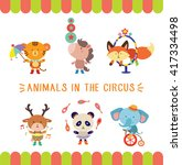 cute animals in the circus... | Shutterstock .eps vector #417334498