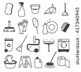 basic cleaning tools icons set   Shutterstock .eps vector #417340945