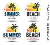 summer holidays design elements ... | Shutterstock .eps vector #417364912