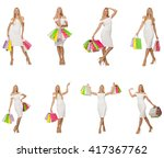 woman with shopping bags... | Shutterstock . vector #417367762