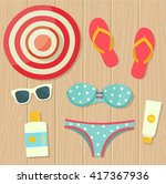 summer vacation. objects on... | Shutterstock .eps vector #417367936