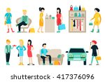 vector shopping and shipping... | Shutterstock .eps vector #417376096