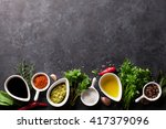 herbs  condiments and spices on ... | Shutterstock . vector #417379096