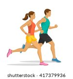 running man and woman. jogging... | Shutterstock .eps vector #417379936
