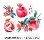 Watercolor Pomegranate Bloom...