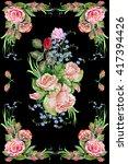 flower panel  rose  watercolor  ... | Shutterstock . vector #417394426