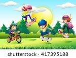 Children Skateboarding And...
