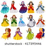 different characters of queens... | Shutterstock .eps vector #417395446