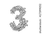 floral font number coloring... | Shutterstock . vector #417399052