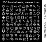 set of 100 hand drawing summer... | Shutterstock .eps vector #417403555