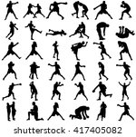group of different poses of... | Shutterstock .eps vector #417405082