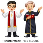 two priests with happy face...   Shutterstock .eps vector #417410206
