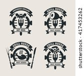 set grill bar labels  logos.... | Shutterstock .eps vector #417453262