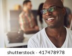 close up of handsome smiling... | Shutterstock . vector #417478978