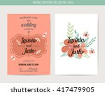 wedding invitation card with... | Shutterstock .eps vector #417479905