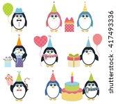 set of penguins in winter.... | Shutterstock . vector #417493336