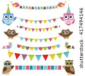 garland and bunting set with... | Shutterstock . vector #417494146
