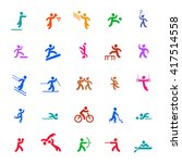sports icons set. colored. | Shutterstock .eps vector #417514558