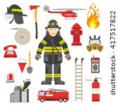 Fireman Equipment Flat Retro...