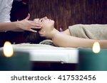 happy sleeping relaxing woman... | Shutterstock . vector #417532456