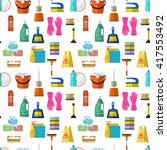 cleaning seamless pattern  | Shutterstock . vector #417553492