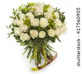 Bouquet Of White Roses On Whit...