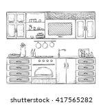kitchen cupboard  kitchen... | Shutterstock .eps vector #417565282