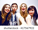 crazy funny selfie party  four... | Shutterstock . vector #417567922