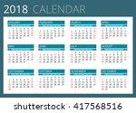 2018 calendar. print template.... | Shutterstock .eps vector #417568516