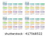 calendar 2017   2018  2019 ... | Shutterstock .eps vector #417568522